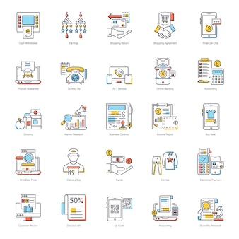 Paquete de iconos planos de pago en línea