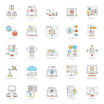 Paquete de iconos planos de redes globales