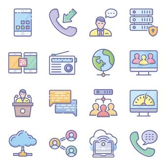 Paquete de iconos planos de redes de hardware