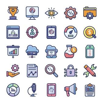 Paquete de iconos planos de seo