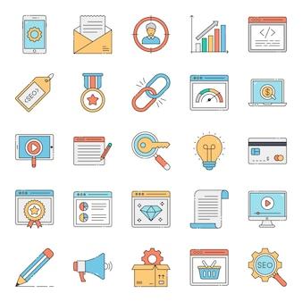 Paquete de iconos planos de sitio web de seo