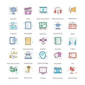 Paquete de iconos planos de streaming