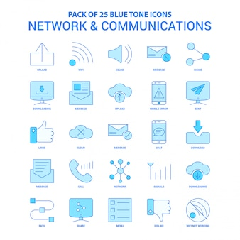 Paquete de iconos de red y comunicación tono azul