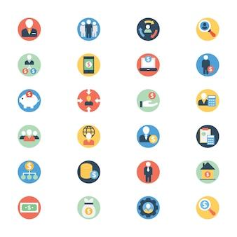 Paquete de iconos redondeados planos de buinessperson
