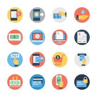 Paquete de iconos redondeados planos de finanzas y dinero