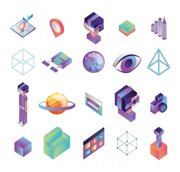 Paquete de iconos de tecnología de realidad virtual