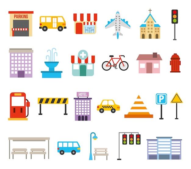 Paquete de iconos urbanos de la ciudad