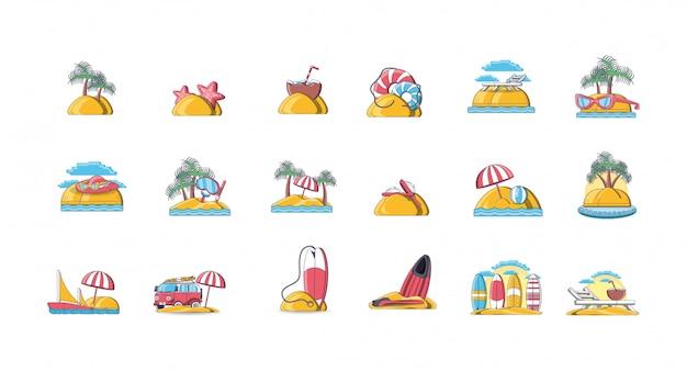Paquete de iconos de vacaciones de verano en la playa