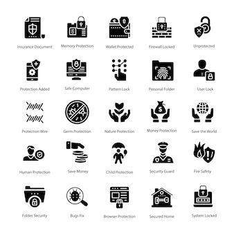 Paquete de iconos de vector de glifo de protección