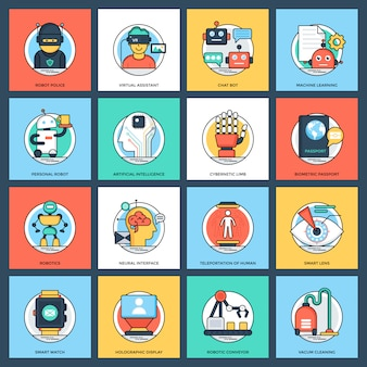 Paquete de iconos de vectores planos de inteligencia artificial