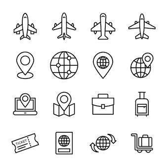 Paquete de iconos de viajes y mapas