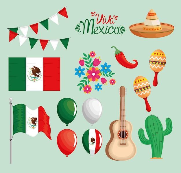 Paquete de iconos de viva mexico