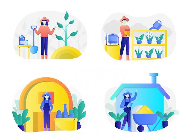 Paquete de ilustración de agricultura plana con personaje