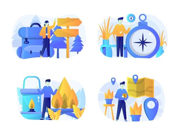 Paquete de ilustración de camping plano con personaje
