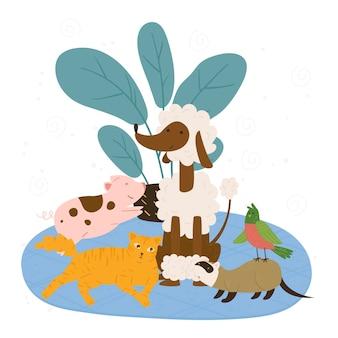 Paquete de ilustración de concepto de diferentes mascotas