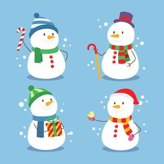 Paquete de ilustración de diseño plano de personaje de muñeco de nieve