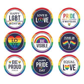 Paquete de ilustración de etiquetas del día del orgullo