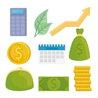 Paquete de ilustración de iconos de conjunto financiero