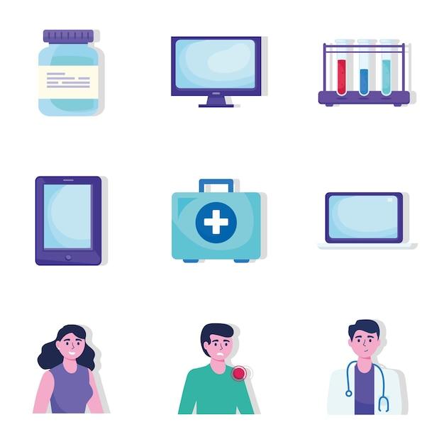 Paquete de ilustración de iconos de conjunto de telemedicina