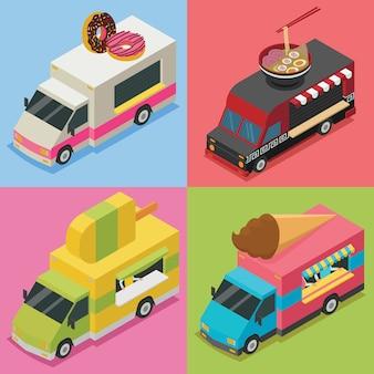 Paquete de ilustración isométrica de food truck