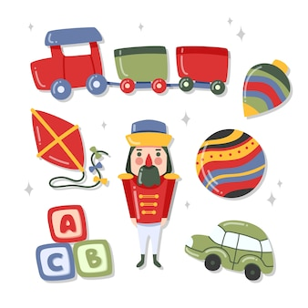 Paquete de ilustración de juguete de navidad dibujado a mano