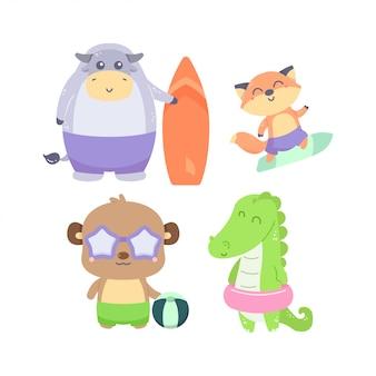 Paquete de ilustración lindo tema de verano de colección de animales