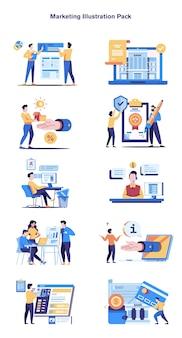 Paquete de ilustración de marketing