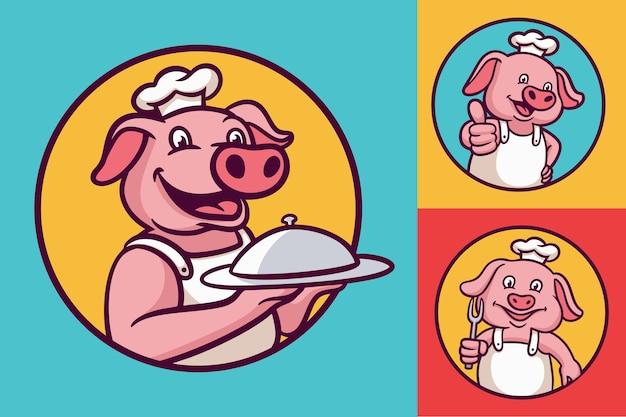 Paquete de ilustración de mascota de logotipo de animal de dibujos animados de chef de cerdo