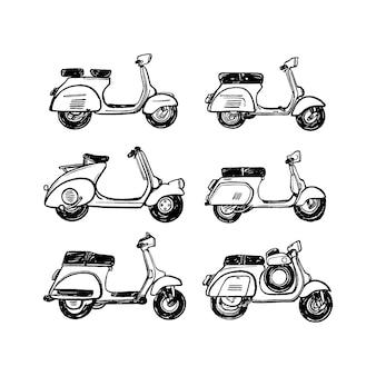 Paquete de ilustración de motor clásico