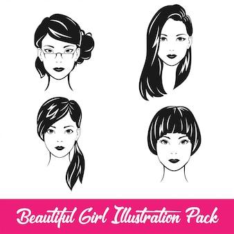Paquete de ilustración de niña hermosa