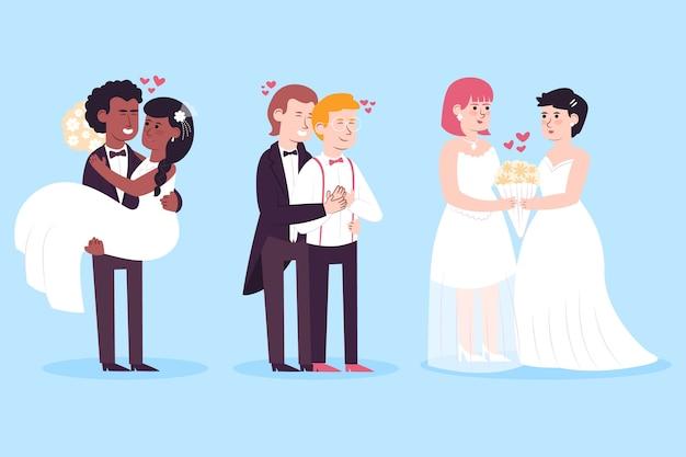 Paquete de ilustración de parejas de boda
