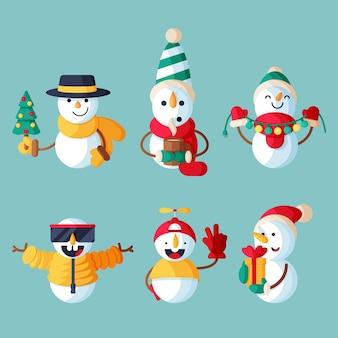 Paquete de ilustración de personaje de muñeco de nieve de diseño plano