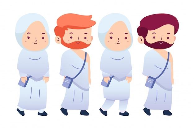 Paquete de ilustración personajes lindos hajj tema
