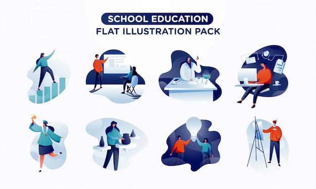 Paquete de ilustración plana de escena educativa