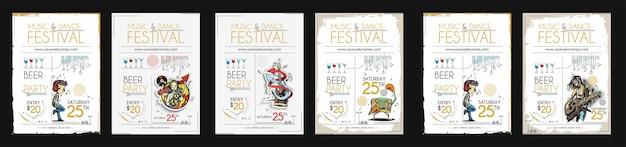 Paquete de ilustración de vector de plantilla de cartel de amplificador de portada de revista de folleto de fiesta de música