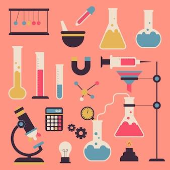Paquete ilustrado de objetos de laboratorio de ciencias