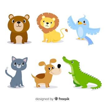 Paquete ilustrado plano de animales lindos
