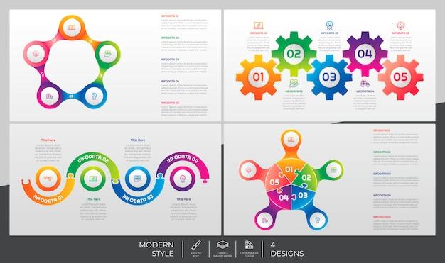 Paquete de infografía con estilo 3d y concepto colorido para fines de presentación, negocios y marketing.