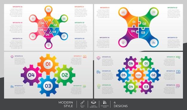 Paquete de infografía con estilo moderno y concepto de rompecabezas para fines de presentación, negocios y marketing.