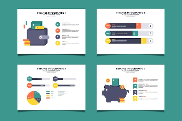 Paquete de infografía de finanzas