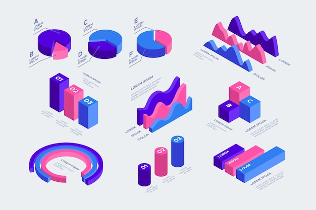 Paquete de infografía isométrica