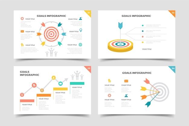 Paquete de infografía de objetivos