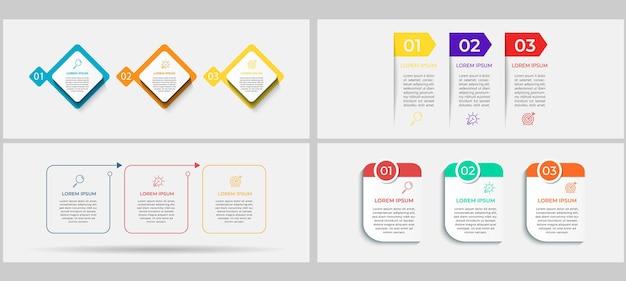 Paquete de infografías comerciales con 3 opciones o pasos
