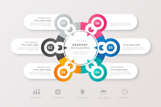 Paquete de infografías en estilo degradado