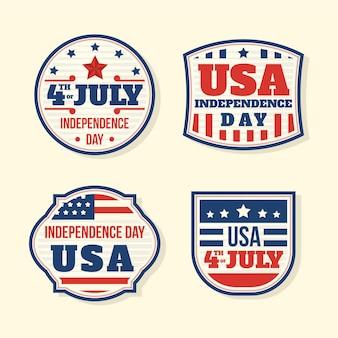 Paquete de insignia vintage del 4 de julio