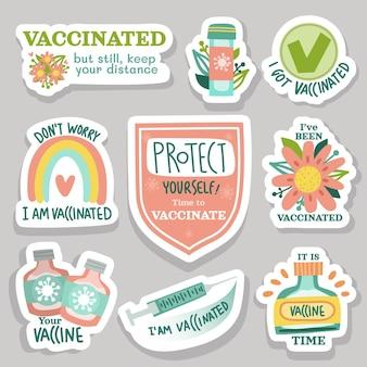 Paquete de insignias de campaña de vacunación dibujado a mano