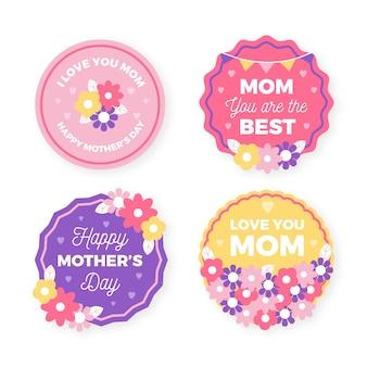 Paquete de insignias del día de la madre de diseño plano