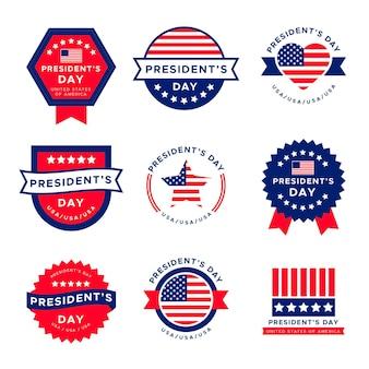 Paquete de insignias de etiquetas del día del presidente