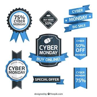 Paquete de insignias geniales para la celebración del lunes cibernético