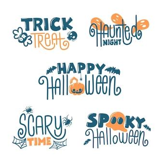 Paquete de insignias de halloween de diseño plano